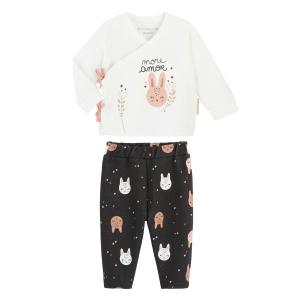 Ensemble bébé fille gilet croisé et pantalon contenant du coton bio Chantilly