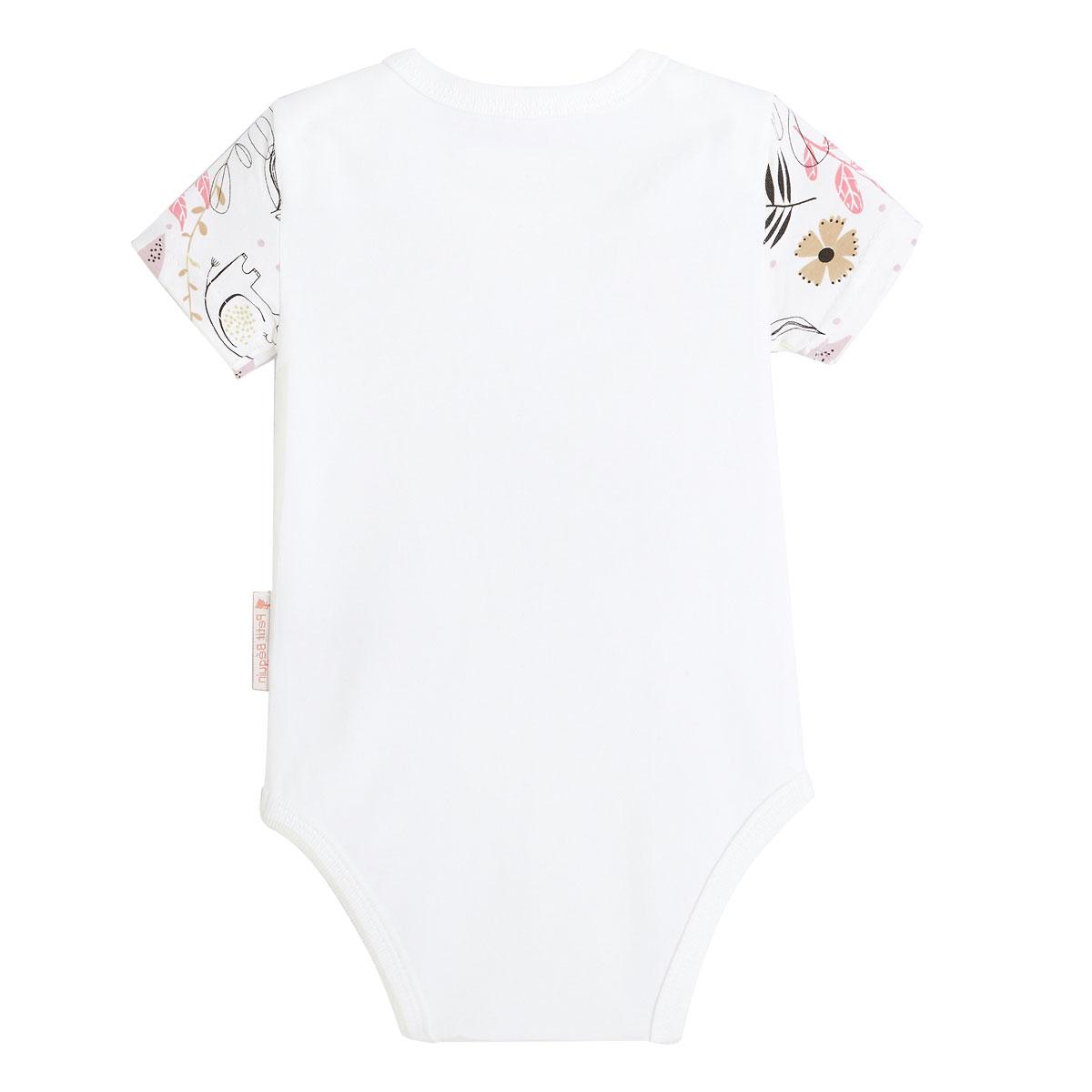 Lot de 2 bodies bébé fille manches courtes contenant du coton bio Singapour placé dos