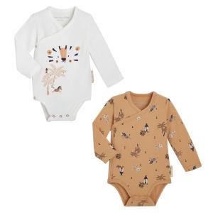 Lot de 2 bodies bébé garçon croisés manches longues contenant du coton bio Safari Jungle