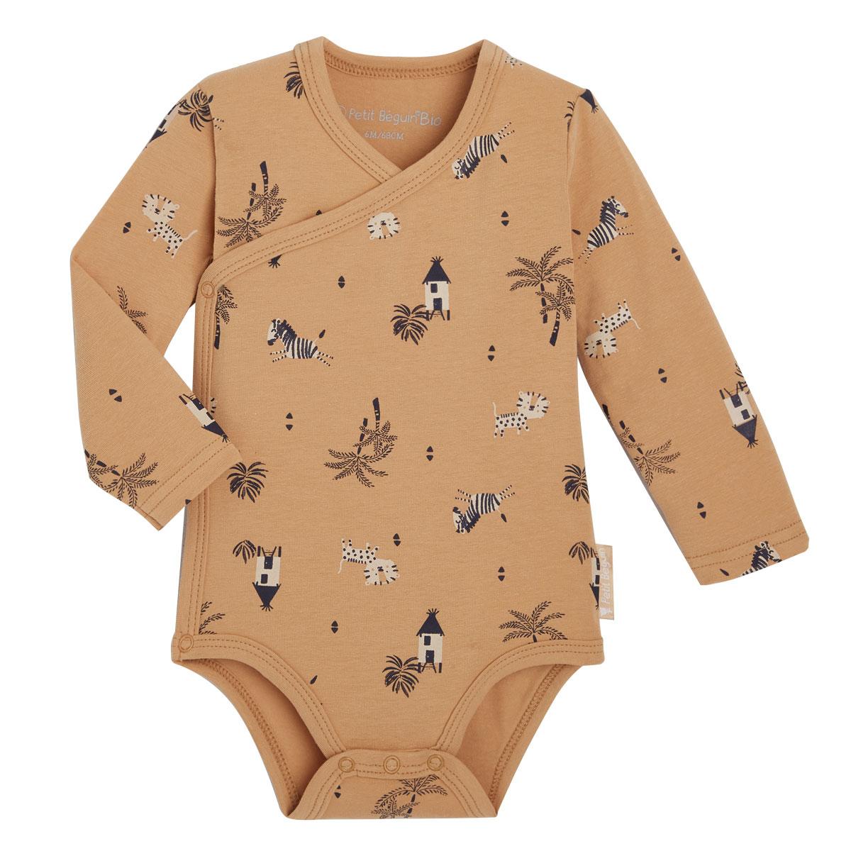 Lot de 2 bodies bébé garçon croisés manches longues contenant du coton bio Safari Jungle 2