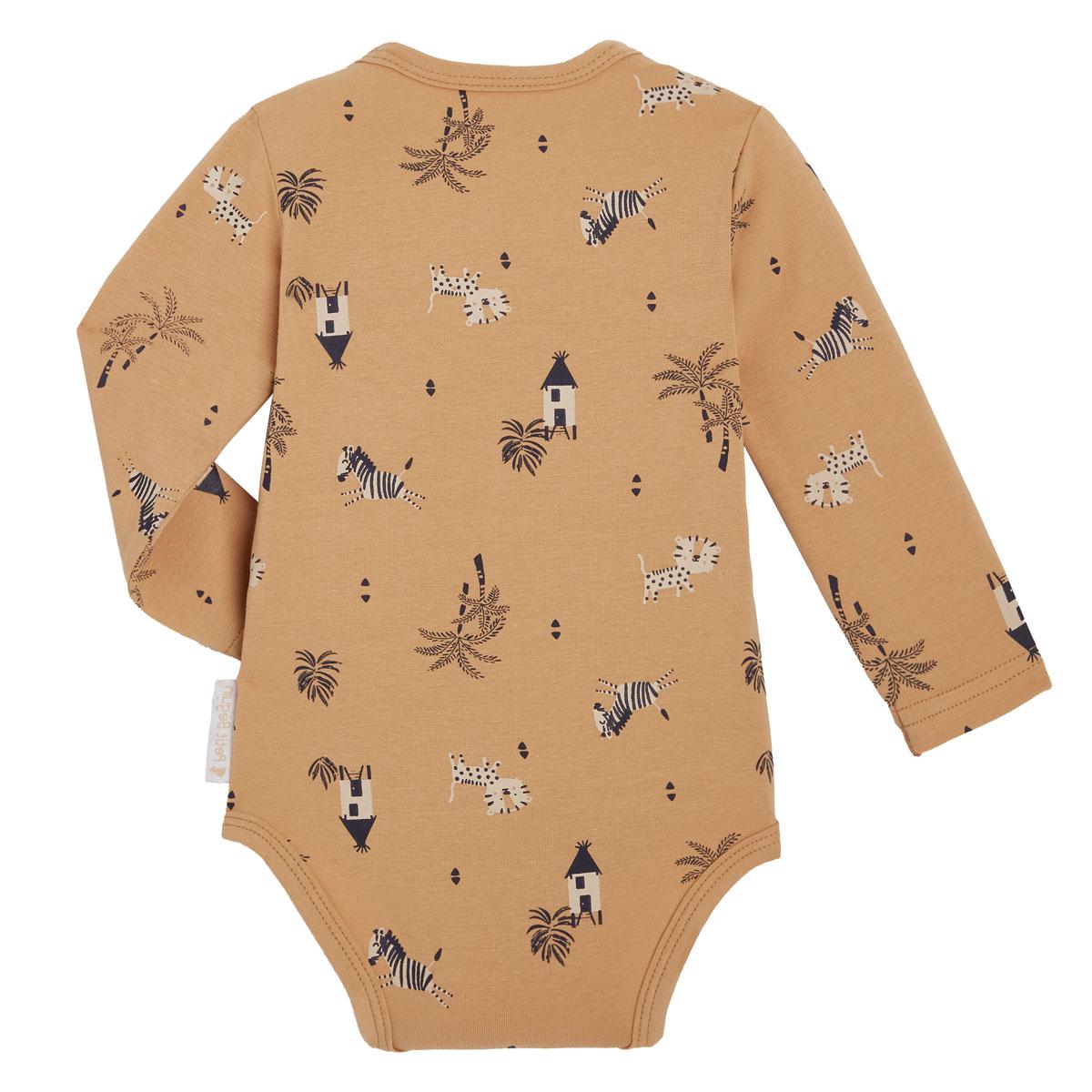 Lot de 2 bodies bébé garçon croisés manches longues contenant du coton bio Safari Jungle 2 dos