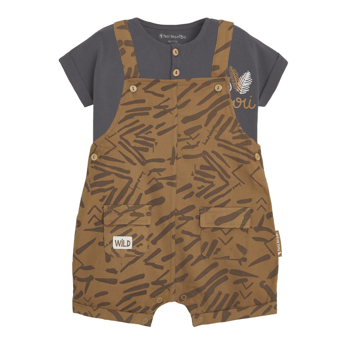Salopette bébé garçon et t-shirt contenant du coton bio Wild Safari
