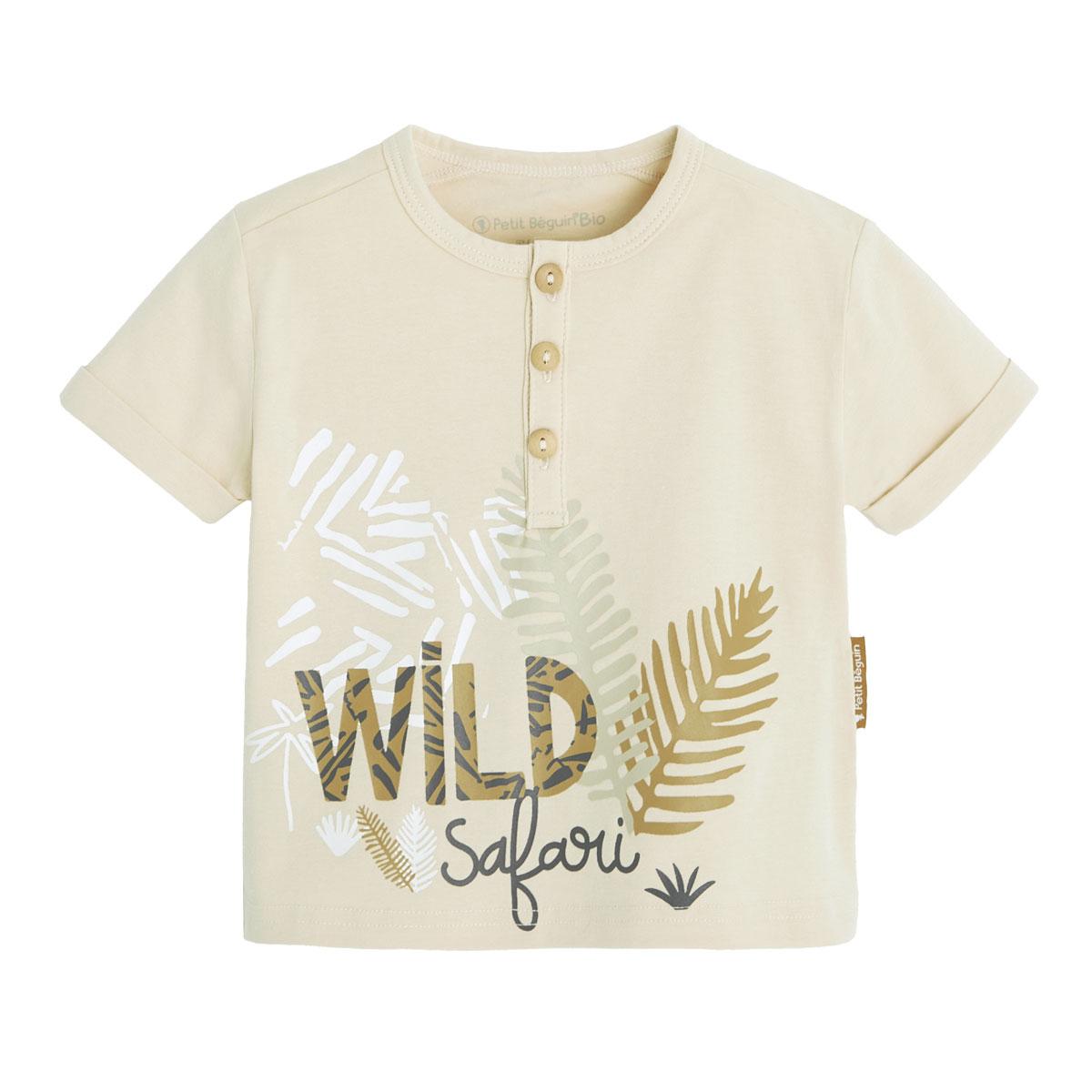 Ensemble bébé garçon t-shirt contenant du coton bio + short Wild Safari haut