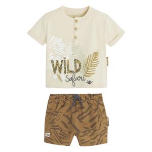 Ensemble bébé garçon t-shirt contenant du coton bio + short Wild Safari