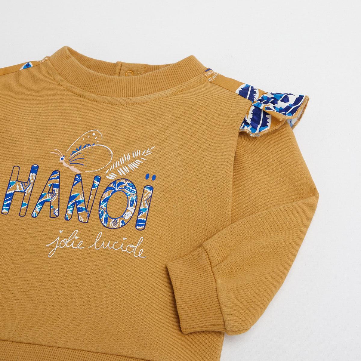 Sweat-shirt fille en coton gratté Hanoi zoom