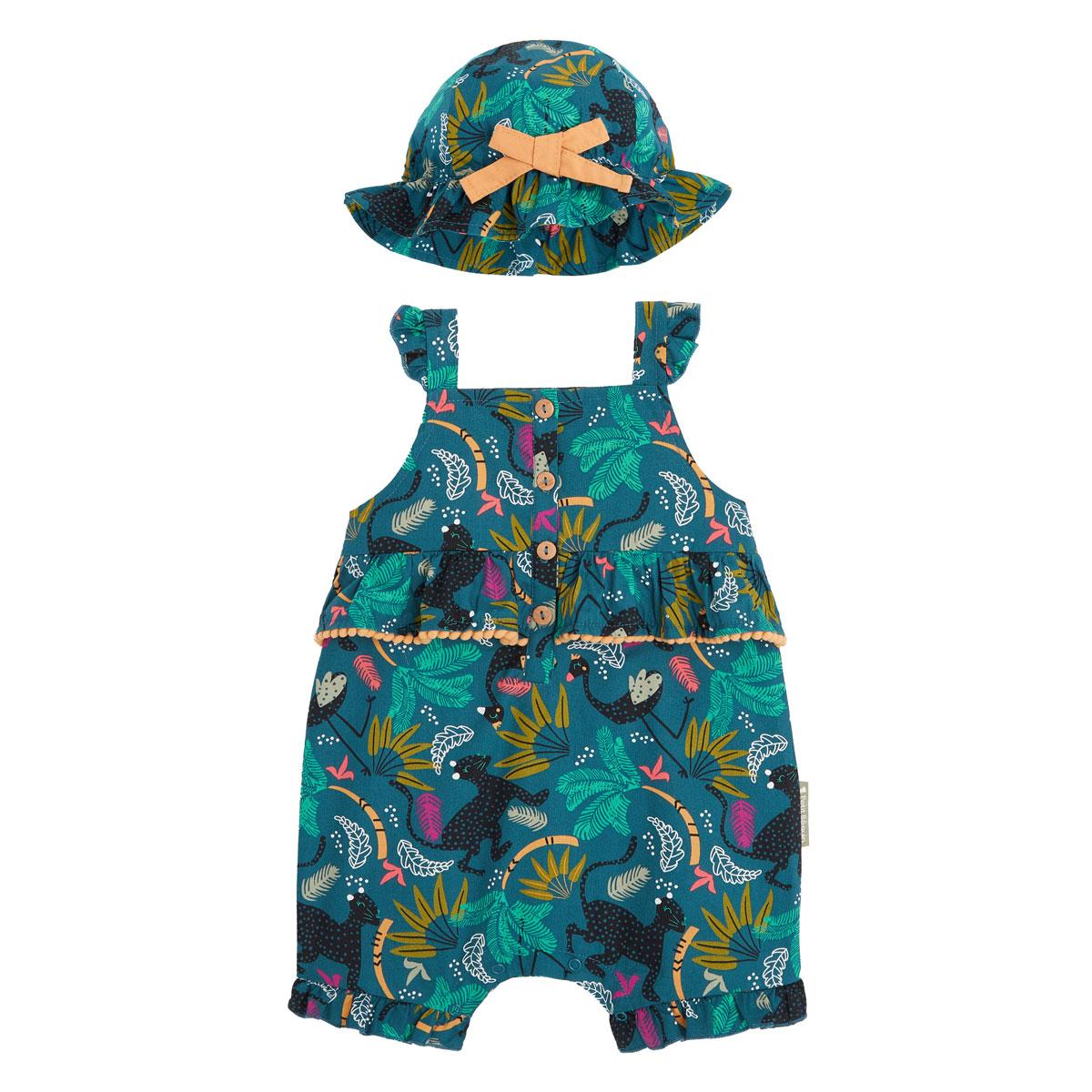 Barboteuse bébé fille et chapeau Blue Coco