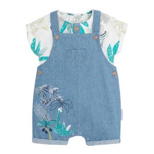Salopette bébé garçon et t-shirt Dinokoko