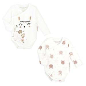 Lot de 2 bodies bébé fille croisés manches longues contenant du coton bio Chantilly