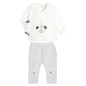Ensemble bébé mixte gilet croisé et pantalon contenant du coton bio Bonheur du matin