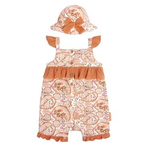 Barboteuse bébé fille et chapeau contenant du coton bio Kaiko