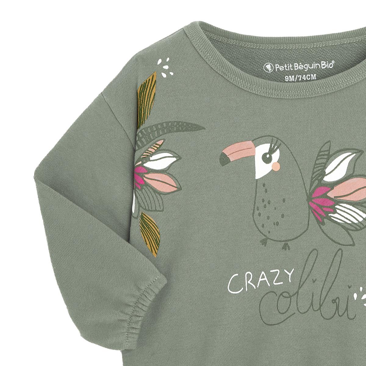 Sweat-shirt fille contenant du coton gratté bio Crazy Colibri zoom
