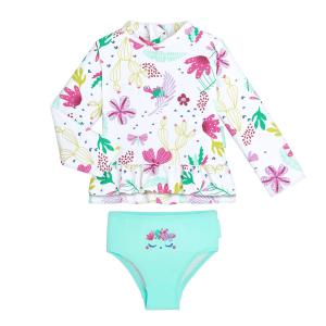 Maillot de bain ANTI-UV fille 2 pièces t-shirt & culotte Tropic Coco