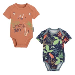 Lot de 2 bodies bébé garçon manches courtes contenant du coton bio Crazy Jazzy