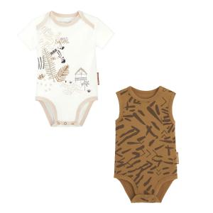 Lot de 2 bodies bébé garçon manches courtes contenant du coton bio Wild Safari
