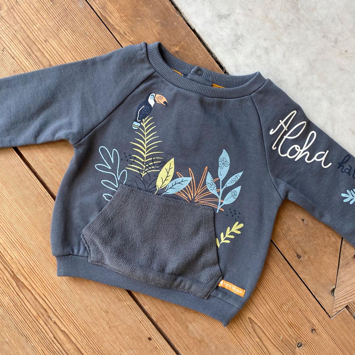 Sweat-shirt garçon contenant du coton gratté bio Aloha Havana insta