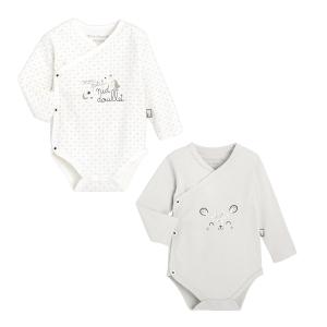 Lot de 2 bodies croisés bébé mixte manches longues en coton bio Nid Douillet