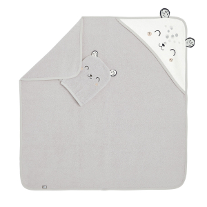 Cape et gant de bain bébé mixte en coton bio Nid Douillet
