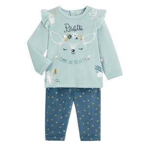 Pyjama bébé fille velours 2 pièces Bichette