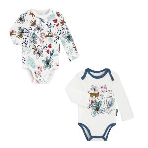 Lot de 2 bodies bébé fille manches longues contenant du coton bio Love Nature