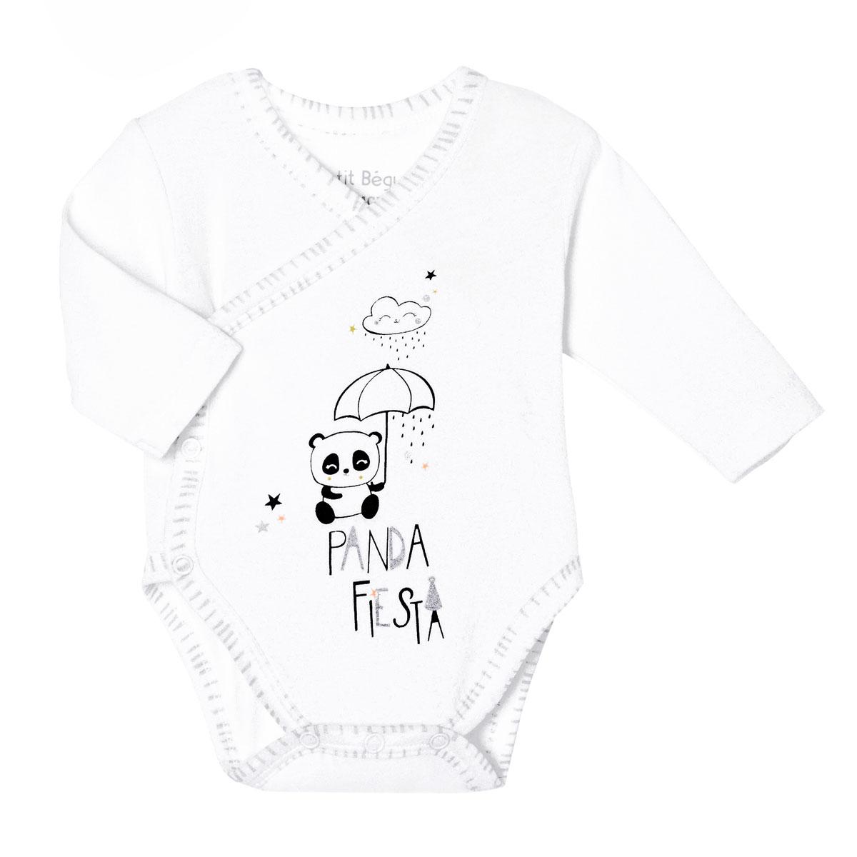 Lot de 2 bodies bébé mixte croisés manches longues contenant du coton bio Little Panda zoom 2