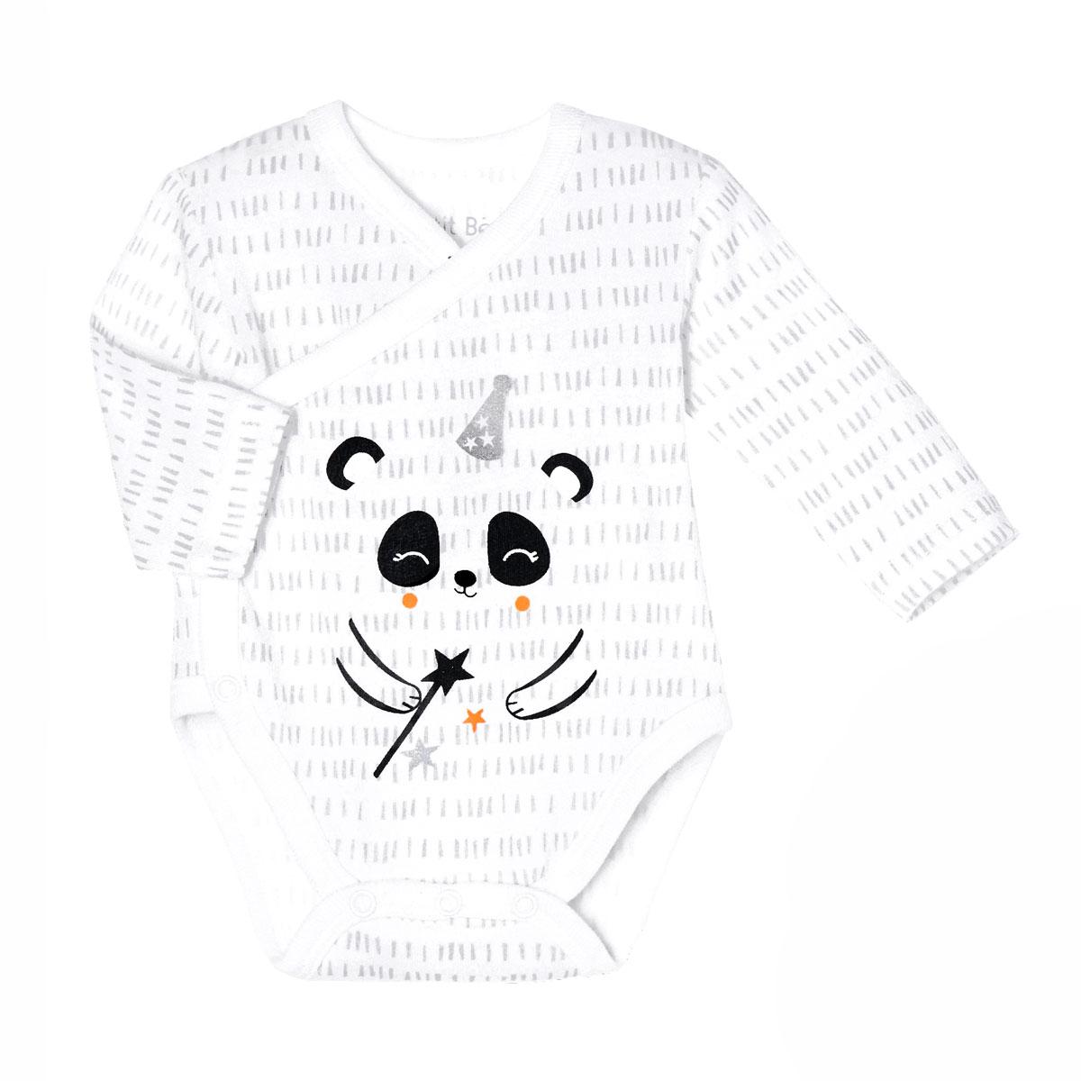 Lot de 2 bodies bébé mixte croisés manches longues contenant du coton bio Little Panda zoom 1