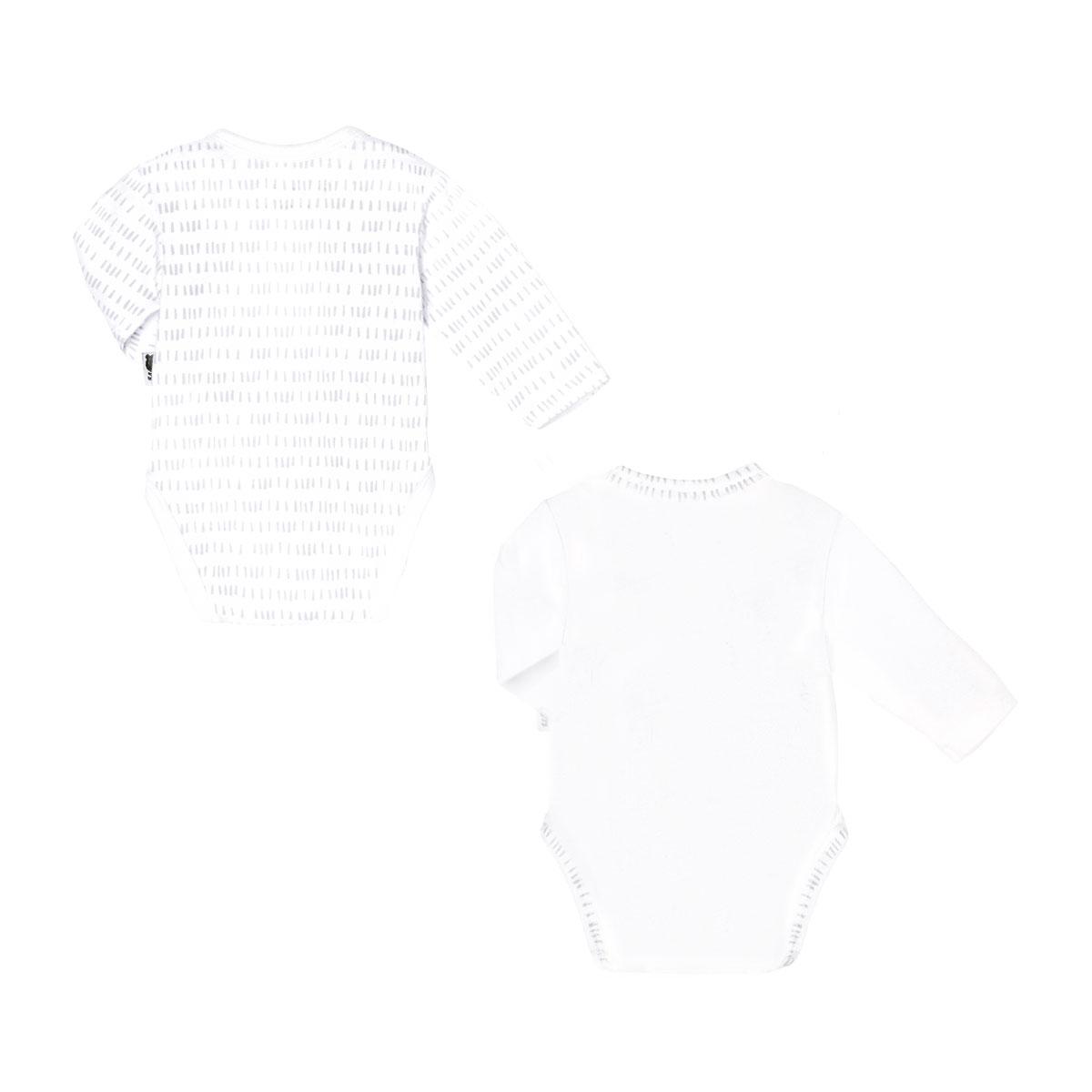 Lot de 2 bodies bébé mixte croisés manches longues contenant du coton bio Little Panda dos