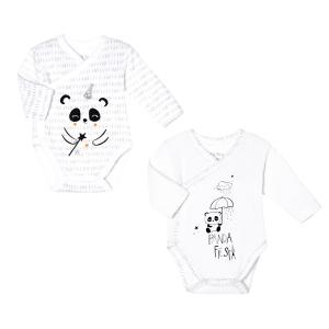 Lot de 2 bodies bébé mixte croisés manches longues contenant du coton bio Little Panda