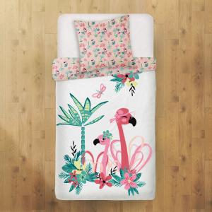 Housse de couette enfant + taie d'oreiller Miss Pinky (140 x 200 cm)