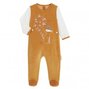 Pyjama bébé en velours contenant du coton bio Sapristi