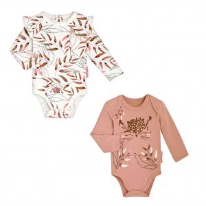 Lot de 2 bodies bébé fille manches longues contenant du coton bio Polène