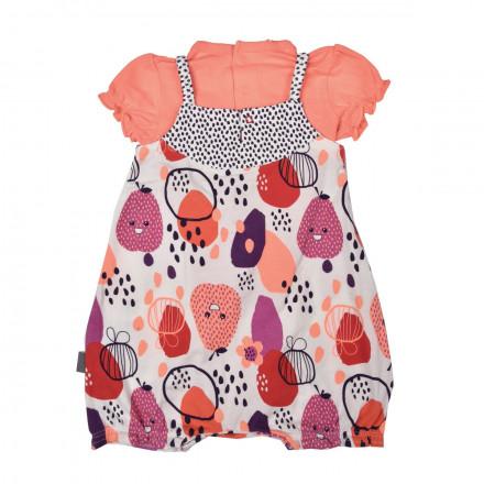 Barboteuse + t-shirt bébé fille orange Pépin