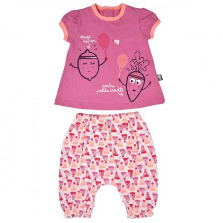 Ensemble t-shirt et sarouel bébé fille Petite Carotte