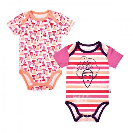 Lot de 2 bodies bébé fille manches courtes Petite Carotte