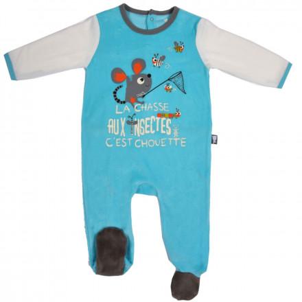 Grenouillère bébé garçon bleu Mille Pattes