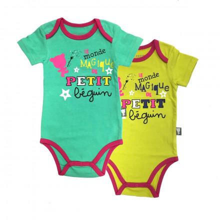Lot de 2 bodies manches courtes bébé fille Magique