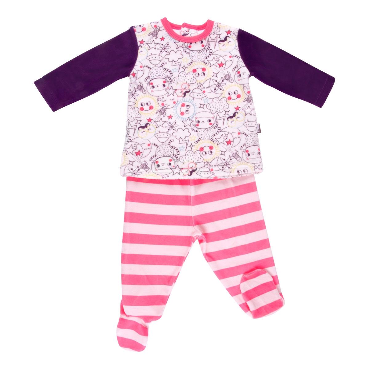 b3eec07a81a00 Pyjama bébé 2 pièces velours avec pieds Rêveuse - PETIT BEGUIN