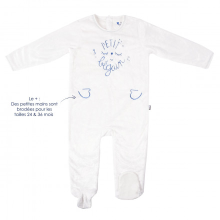 Grenouillère bébé garçon fourrure bleu Petite Star