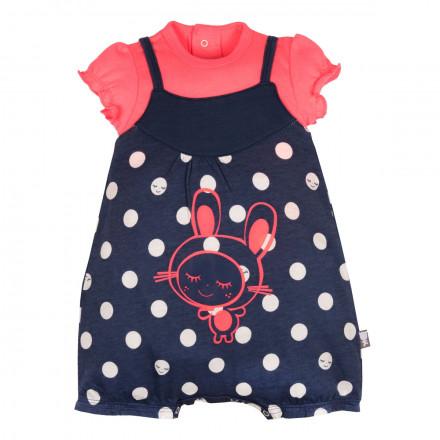 Barboteuse + t-shirt bébé fille rose Minilutin