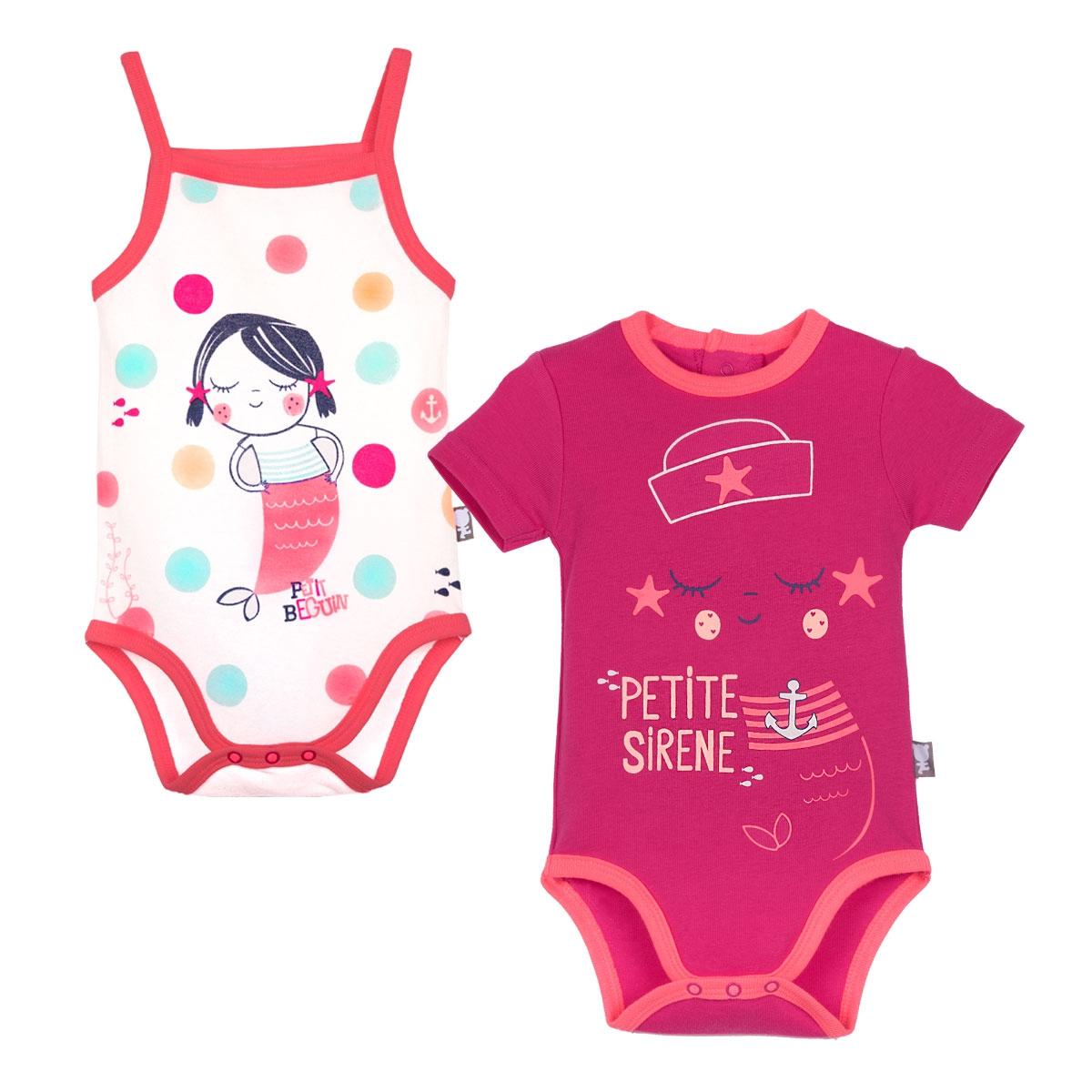Lot de 2 bodies manches courtes et débardeur bébé fille A l eau - PET 830607070e9