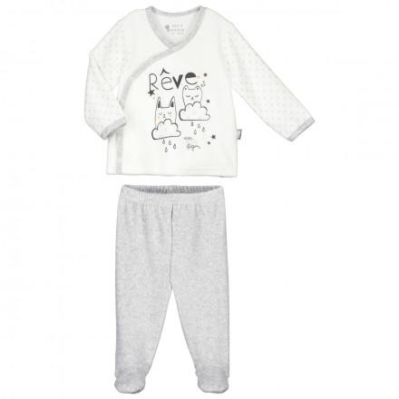 Ensemble velours bébé mixte gilet + pantalon Doux Rêves