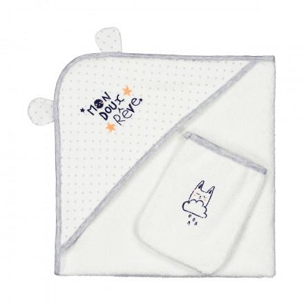 Cape et gant de bain bébé mixte Doux Rêves
