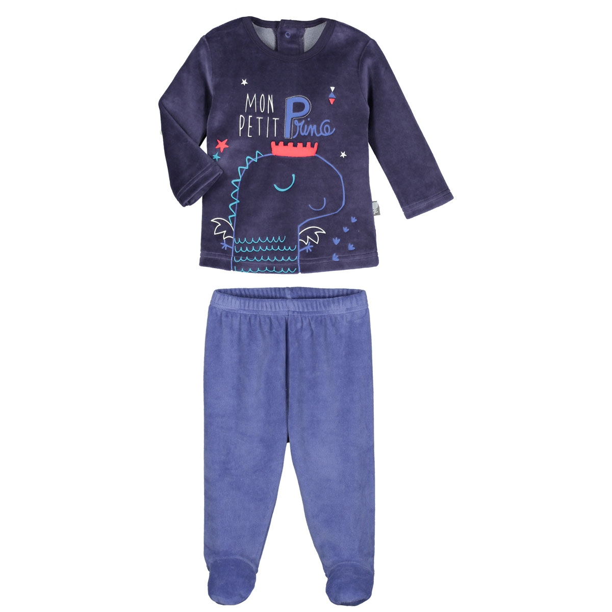 420d6cd3aa6fe Pyjama bébé 2 pièces velours avec pieds Petit Prince - PETIT BEGUIN
