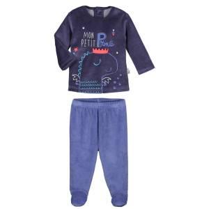 685255a66608b Pyjama bébé 2 pièces velours avec pieds Petit Prince - PETIT BEGUIN