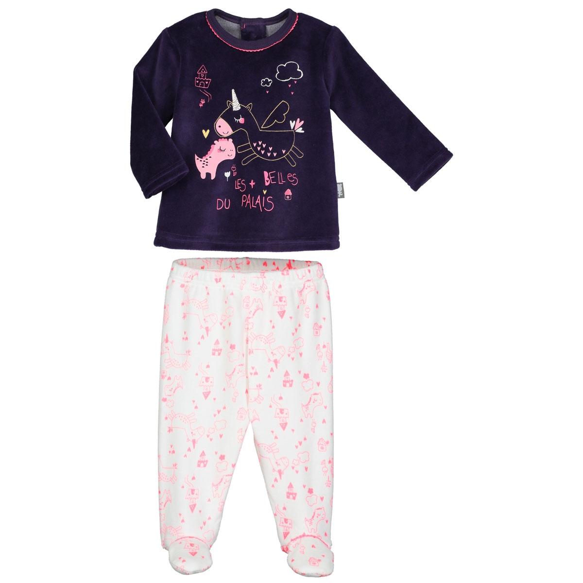 Pyjama bébé velours avec pieds Lili - PETIT BEGUIN 43afe60bb69