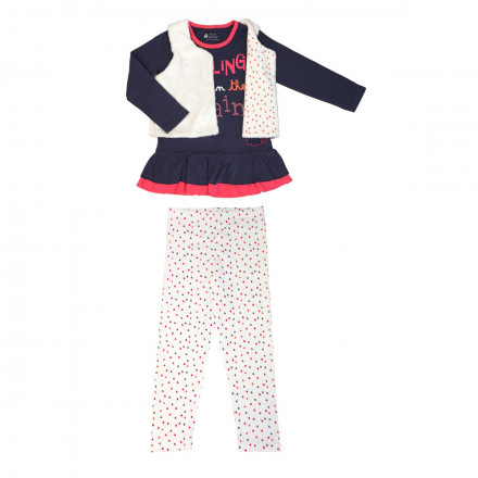 Pyjama fille manches longues Rainy day + gilet