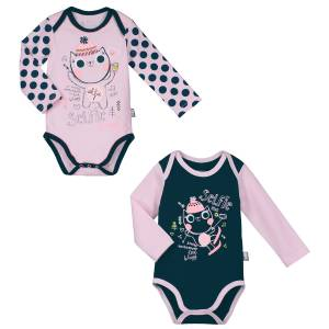 Lot de 2 bodies manches longues bébé fille Selfie Happy
