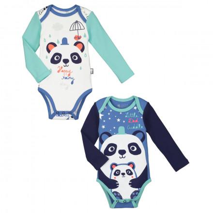 Lot de 2 bodies manches longues bébé garçon Pandalapin