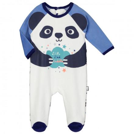 Grenouillère velours bébé garçon Pandalapin