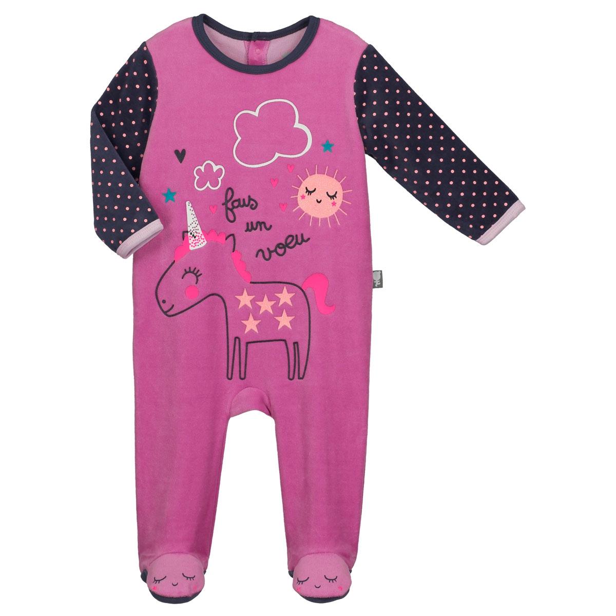 4cd33bf2ebd91 Pyjama bébé velours Licorne - PETIT BEGUIN