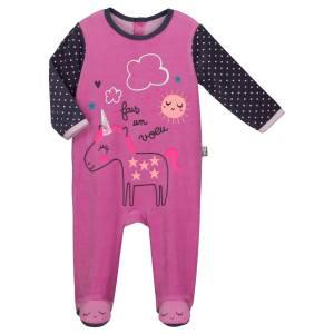875b588710539 Grenouillère velours bébé fille Licorne. Pyjama bébé velours Licorne